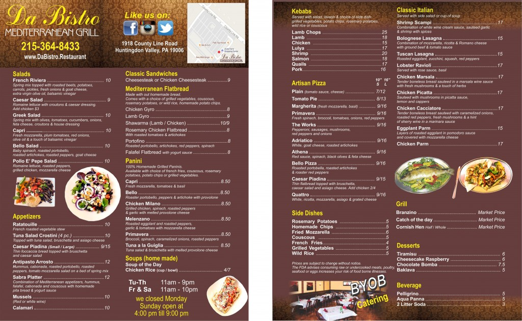 Menu da bistro restaurant for Mediterranean food menu